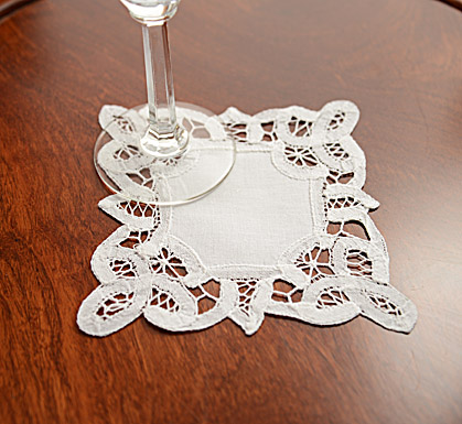 Battenburg Lace. PA. Square. 5X5in. White. 12pieces.